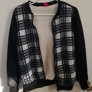 Spoiled (M) Faux Sherpa/Plaid Bomber Jacket